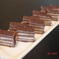 piškótové, čokoládové cesto s orechovým krémom, poliate čokoládou.