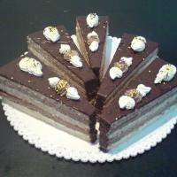 piškótové a čokoládové cesto, čokoládový a orechový krém, celý poliaty čokoládou.